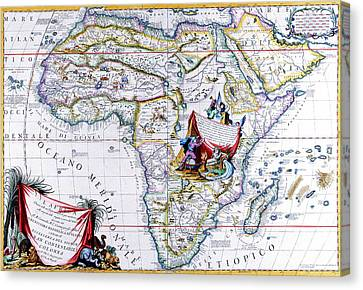 Antique Maps Of The World Map Of Africa Vincenzo Coronelli C 1692 Canvas Print by R Muirhead Art