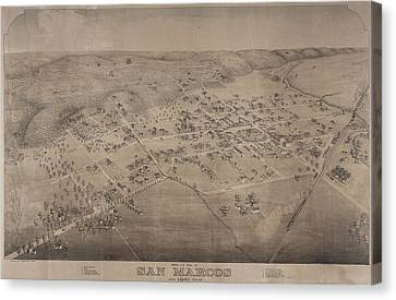 San Marco Canvas Print - Antique Maps - Old Cartographic Maps - Antique Birds Eye View Map Of San Marcos, Texas, 1881 by Studio Grafiikka