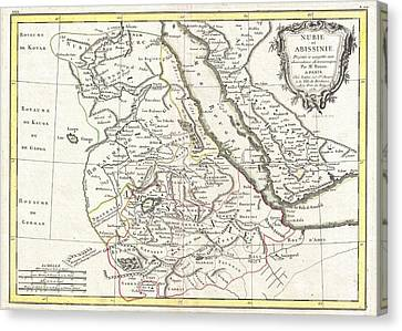 Sudan Red Canvas Print - Antique Maps - Old Cartographic Maps - Antique Map Of Abyssinia, Sudan And The Red Sea, 1771 by Studio Grafiikka