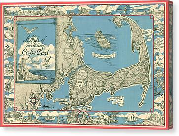 Cape Cod Bay Canvas Print - Antique Maps - Old Cartographic Maps - Antique Map Of Cape Cod, Massachusetts, 1945 by Studio Grafiikka