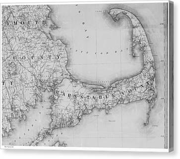Cape Cod Bay Canvas Print - Antique Maps - Old Cartographic Maps - Old Map Of Cape Cod, 1844 by Studio Grafiikka