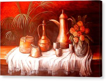 Antique Moroccan Pots Still Life Canvas Print by Patricia Rachidi