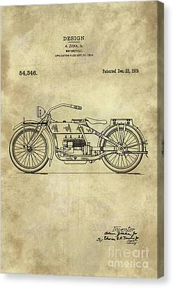 Antique Motorcycle Blueprint Patent Drawing Plan From 1919, Industrial Farmhouse Canvas Print by Tina Lavoie