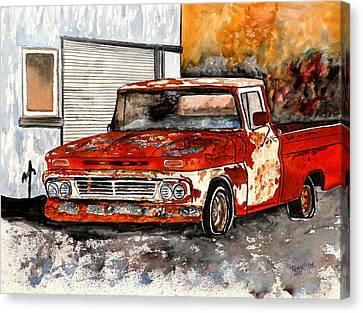 Antique Old Truck Painting Canvas Print by Derek Mccrea