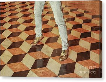 Canvas Print featuring the photograph Antique Optical Illusion Floor Tiles by Patricia Hofmeester