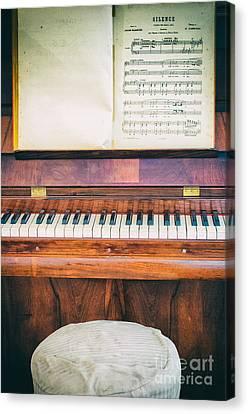 Canvas Print featuring the photograph Antique Piano And Music Sheet by Silvia Ganora