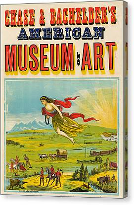 Antique Poster Chase And Bachelder's American Museum Of Art 1875 Canvas Print by Stafford and Company