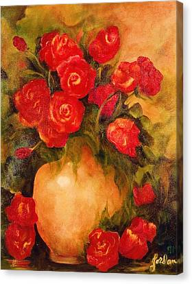 Antique Roses Canvas Print by Jordana Sands