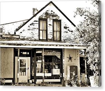 Antique Shop, Black And White Canvas Print