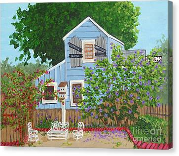 Canvas Print featuring the painting Antique Shop, Cambria Ca by Katherine Young-Beck