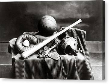Antique Sports Equipment - American Athletics Canvas Print by Mark Tisdale