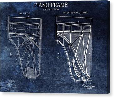 Classical Music Canvas Print - Antique Steinway Piano Patent by Dan Sproul