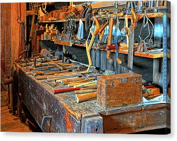 Antique Tool Bench Canvas Print by Dave Mills