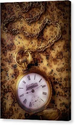 Analog Canvas Print - Antique Train Pocket Watch by Garry Gay
