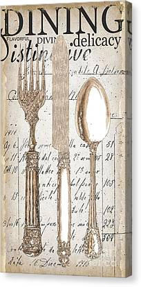Antique Utensils For Kitchen And Dining In White Canvas Print by Grace Pullen