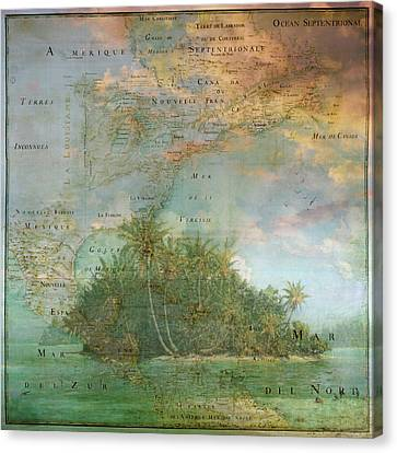 Canvas Print featuring the photograph Antique Vintage Map Of North America Tropical Ocean by Debra and Dave Vanderlaan