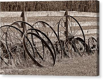 Antique Wagon Wheels I Canvas Print by Tom Mc Nemar