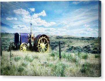Antique Western Tractor Canvas Print by Thomas Woolworth
