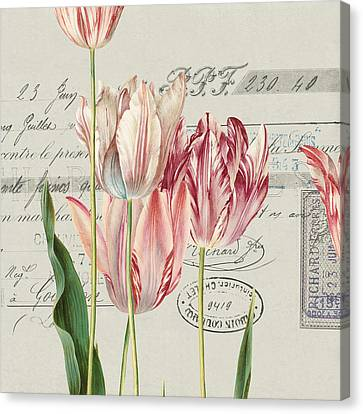 Ephemera Canvas Print - Antiqued Canvas Tulips by AnLei Jungren