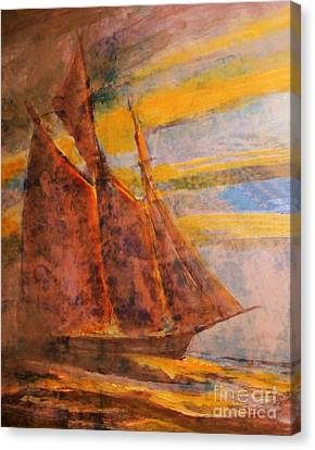 Bluenose Canvas Print - Antiqued Schooner by John Malone