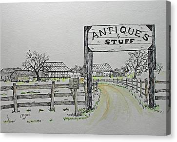 Antiques And Stuff Wash Canvas Print by Jack G Brauer