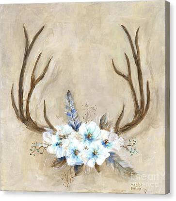 Canvas Print - Antlers And Flowers by Marilyn Dunlap