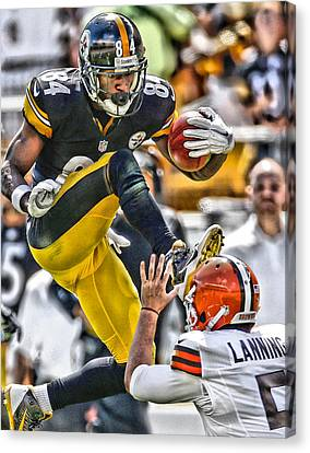 Antonio Brown Steelers Art 5 Canvas Print by Joe Hamilton