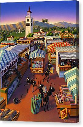 Ant Canvas Print - Ants At The Hollywood Farmers Market by Robin Moline