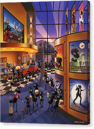 Ant Canvas Print - Ants At The Movie Theatre by Robin Moline