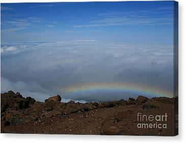 Anuenue - Rainbow At The Ahinahina Ahu Haleakala Sunrise Maui Hawaii Canvas Print by Sharon Mau