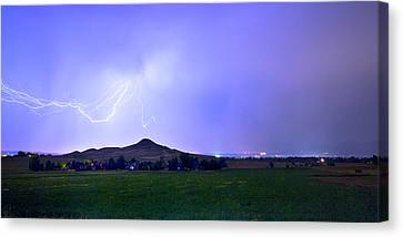 Canvas Print featuring the photograph Anvil Lightning Striking Above Haystack Mountain Panorama by James BO Insogna