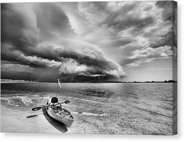 Any Port In A Storm Black And White Canvas Print by JC Findley