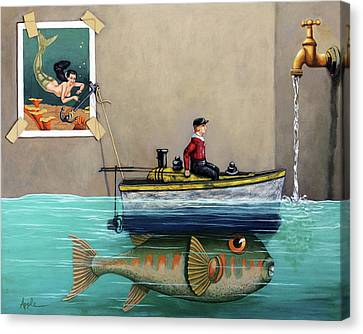 Toy Boat Canvas Print - Anyfin Is Possible - Fisherman Toy Boat And Mermaid Still Life Painting by Linda Apple