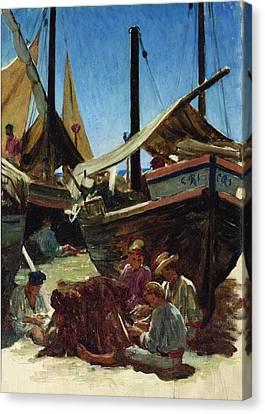 Anzio The Port Canvas Print by Antoine Auguste Ernest Hebert