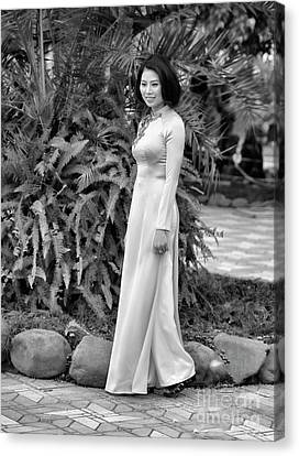 Ao Dai Fashion Black White  Canvas Print by Chuck Kuhn