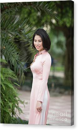 Ao Dai National Costume Vietnam Canvas Print by Chuck Kuhn