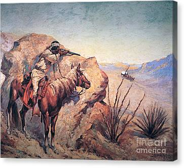 Pioneers Canvas Print - Apache Ambush by Frederic Remington