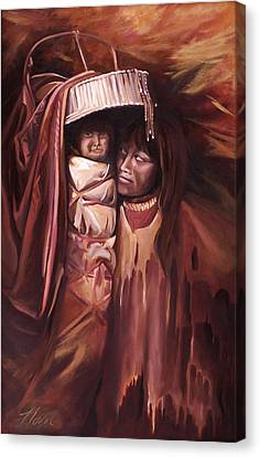 Canvas Print featuring the painting Apache Girl And Papoose by Nancy Griswold