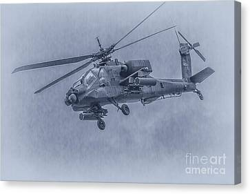 Apache Helicopter In Blue Canvas Print