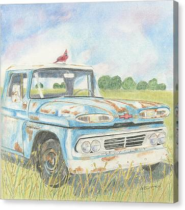 Canvas Print featuring the drawing Apache Out To Pasture by Arlene Crafton