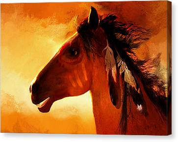 Native American Spirit Portrait Canvas Print - Apache by Valerie Anne Kelly