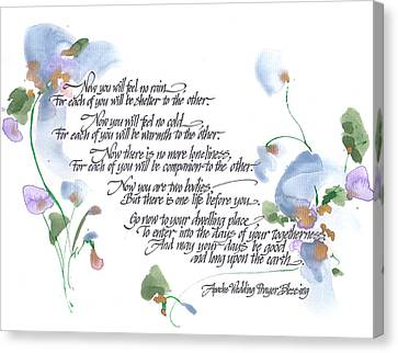 Of Color Canvas Print - Apache Wedding Prayer Blessing by Darlene Flood