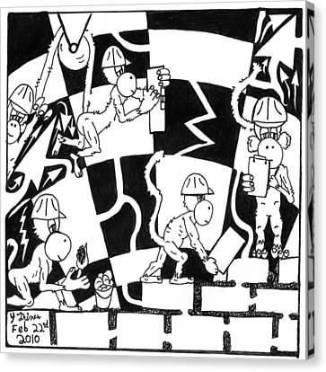 Ape Illuminati Team Of Monkeys Free Masons Canvas Print by Yonatan Frimer Maze Artist