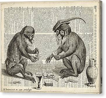 Apes Playing Cards Illustration Over Old Book Page Canvas Print by Jacob Kuch