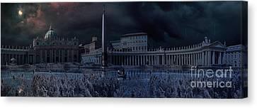 Apocaliptical Scene To Saint Peter Square In Rome Canvas Print by Giordano Aita