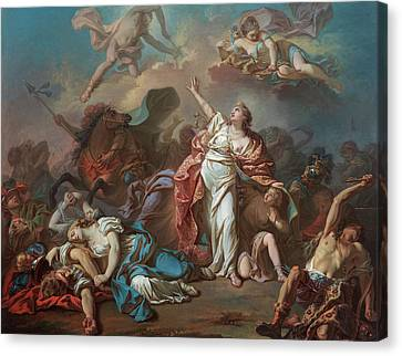 Apollo And Diana Attacking The Children Of Niobe Canvas Print by Jacques-Louis David