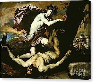 Apollo And Marsyas Canvas Print by Jusepe de Ribera