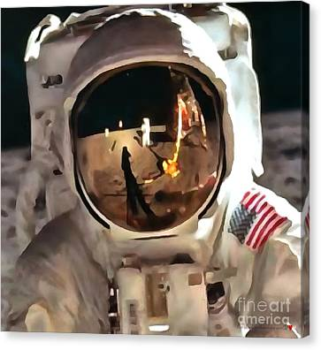 Apollo Moon Mission In Thick Paint 1 Canvas Print by Catherine Lott