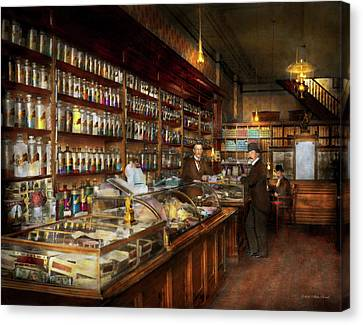 Apothecary - A Visit To The Chemist 1913 Canvas Print by Mike Savad