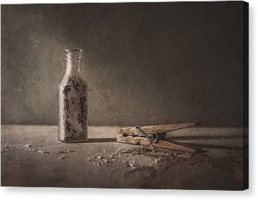Sepia Tone Canvas Print - Apothecary Bottle And Clothes Pin by Scott Norris